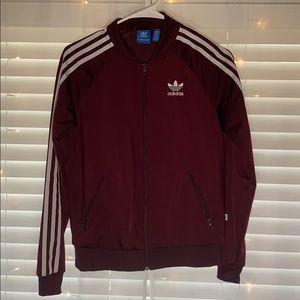 Adidas maroon sweat jacket